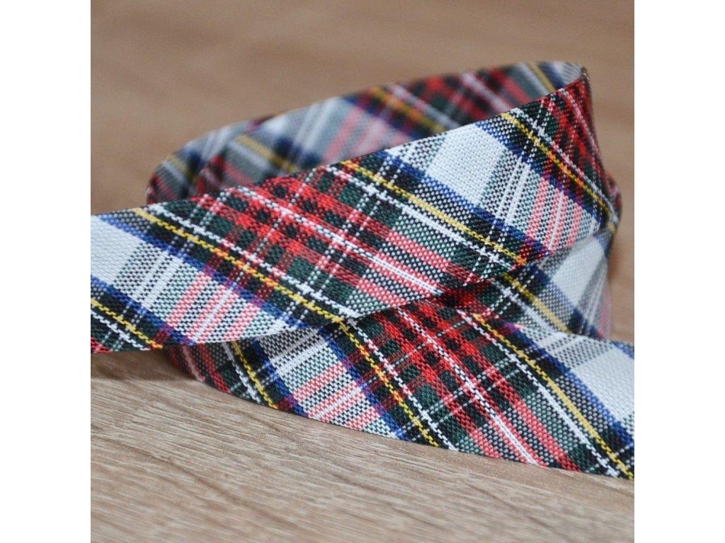 0,5 m šikmý proužek tartan kostičky barevné 18 mm (bavlna/polyester)