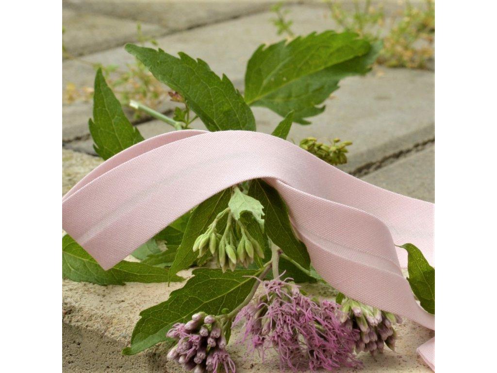0,5 m šikmý proužek růžový plátno s elastanem 18 mm (3% elastan/bavlna)