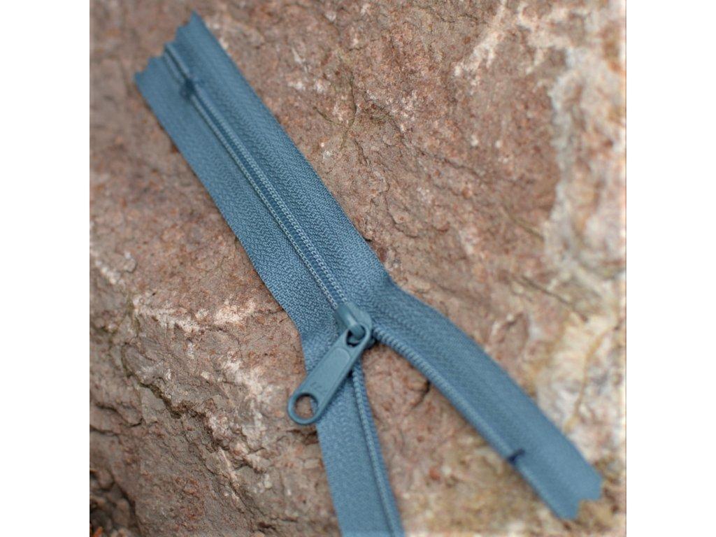 nedělitelný spirálový zip YKK bez aretace vel. 3 - 14 cm, modrošedý