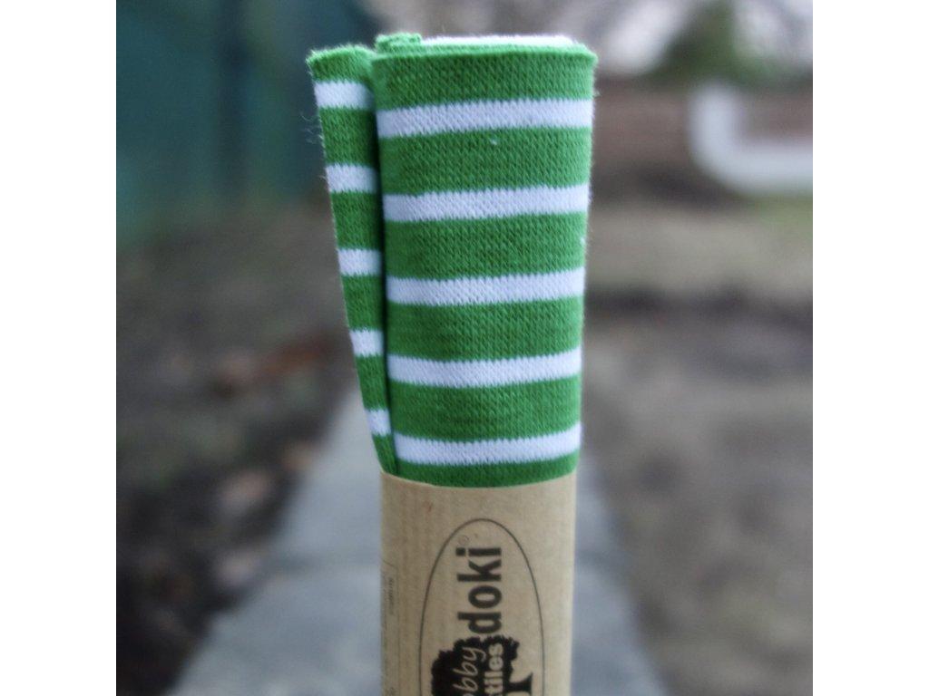 náplet jemný 15 x 70 cm proužky zelené a bílé