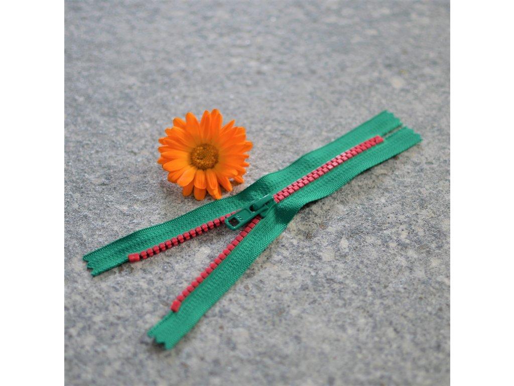 nedělitelný kostěný zip YKK - 16 cm, růžové zuby, zelená stuha