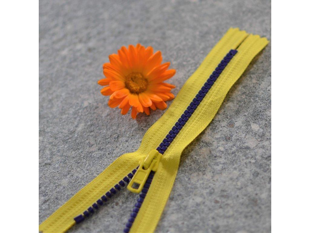 nedělitelný kostěný zip YKK - 16 cm, žlutá stuha, fialové zuby