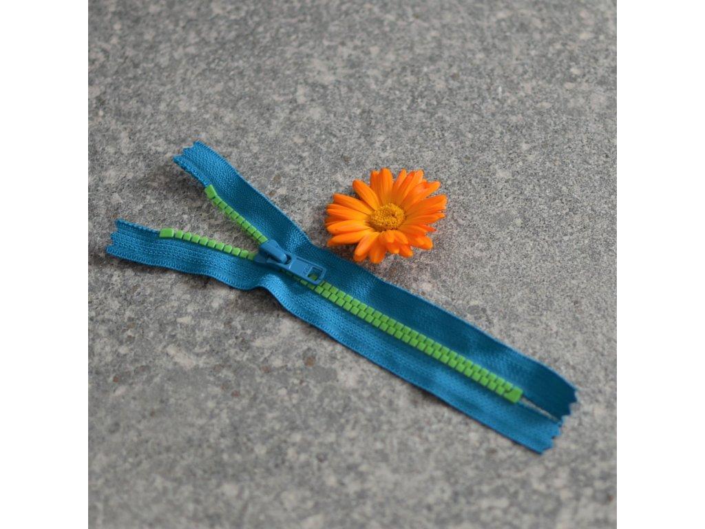 nedělitelný kostěný zip YKK - 16 cm, tmavá tyrkys stuha, zelené zuby