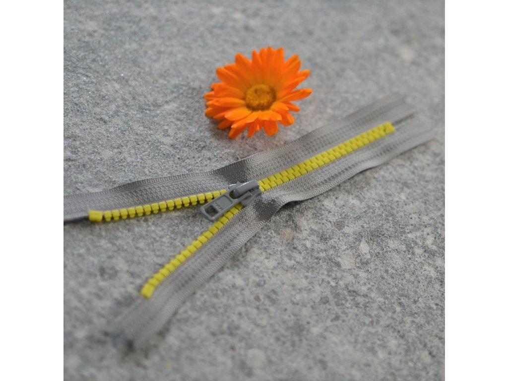 nedělitelný kostěný zip YKK - 16 cm, žluté zuby, světle šedá stuha, FLAT design