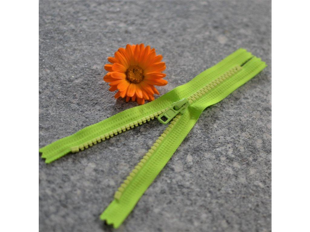 nedělitelný kostěný zip YKK - 16 cm, neonově zelená stuha, světle žluté zuby