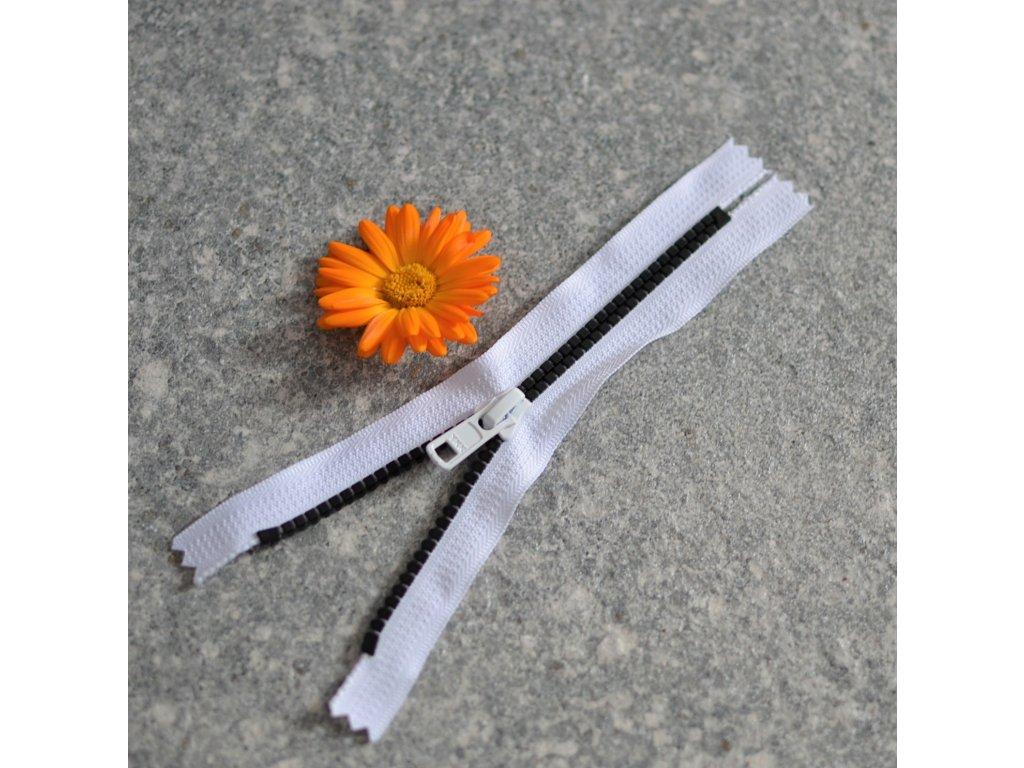 nedělitelný kostěný zip YKK - 16 cm, černé zuby, bílá stuha