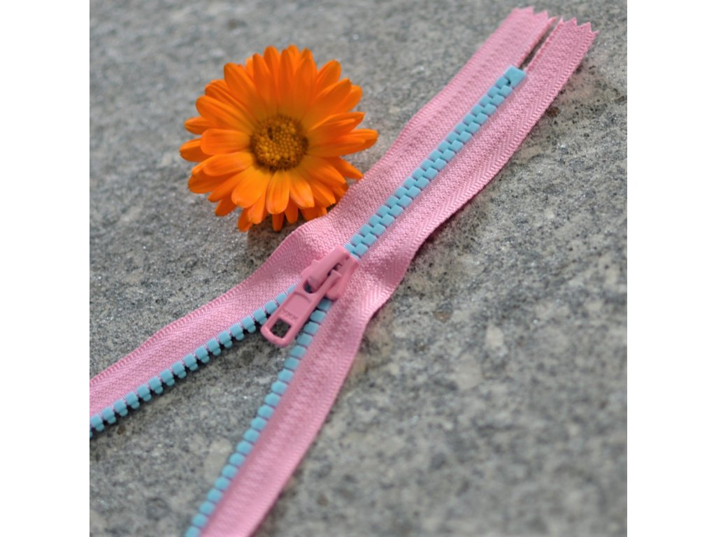 nedělitelný kostěný zip YKK - 16 cm, modré zuby, růžová stuha, FLAT design