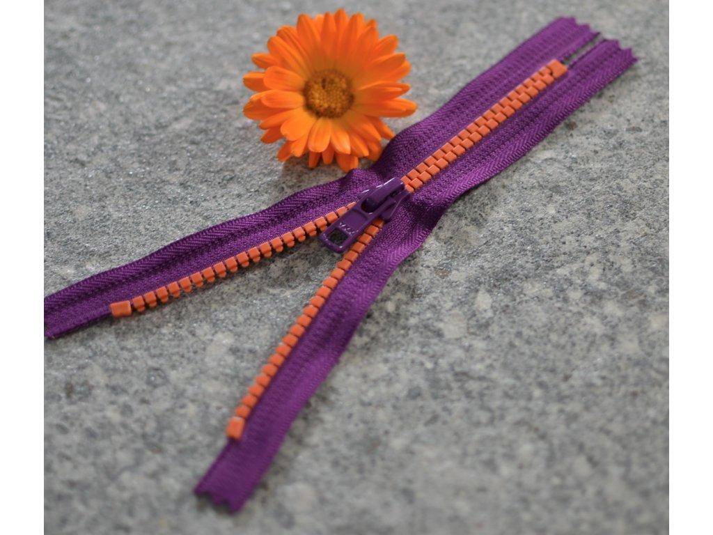 nedělitelný kostěný zip YKK - 16 cm, fialová stuha, oranžové zuby