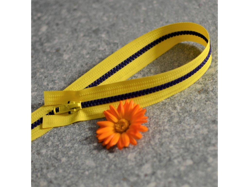 dělitelný kostěný zip YKK - 45 cm, sytě žlutá stuha, fialové zuby