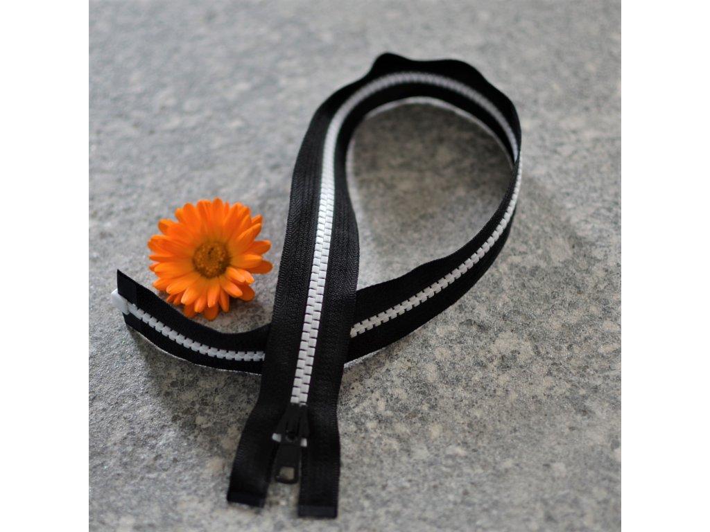 dělitelný kostěný zip YKK - 50 cm, černá stuha, bílé zuby, FLAT design
