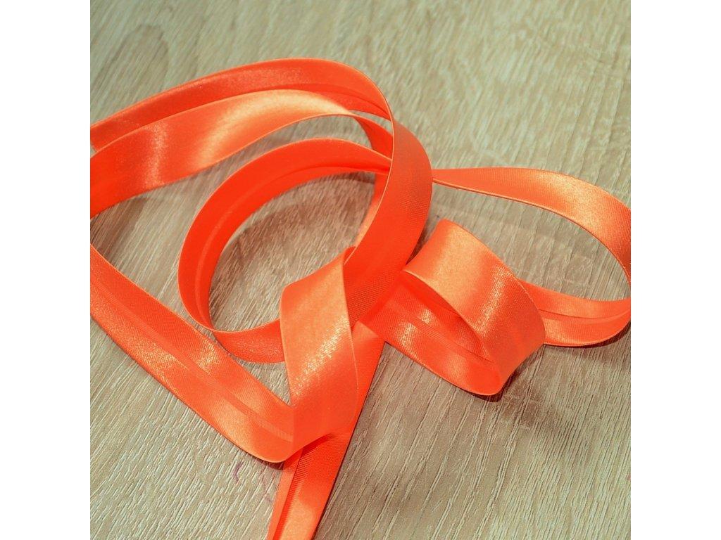0,5 m saténový šikmý proužek pomerančově oranžový 18 mm