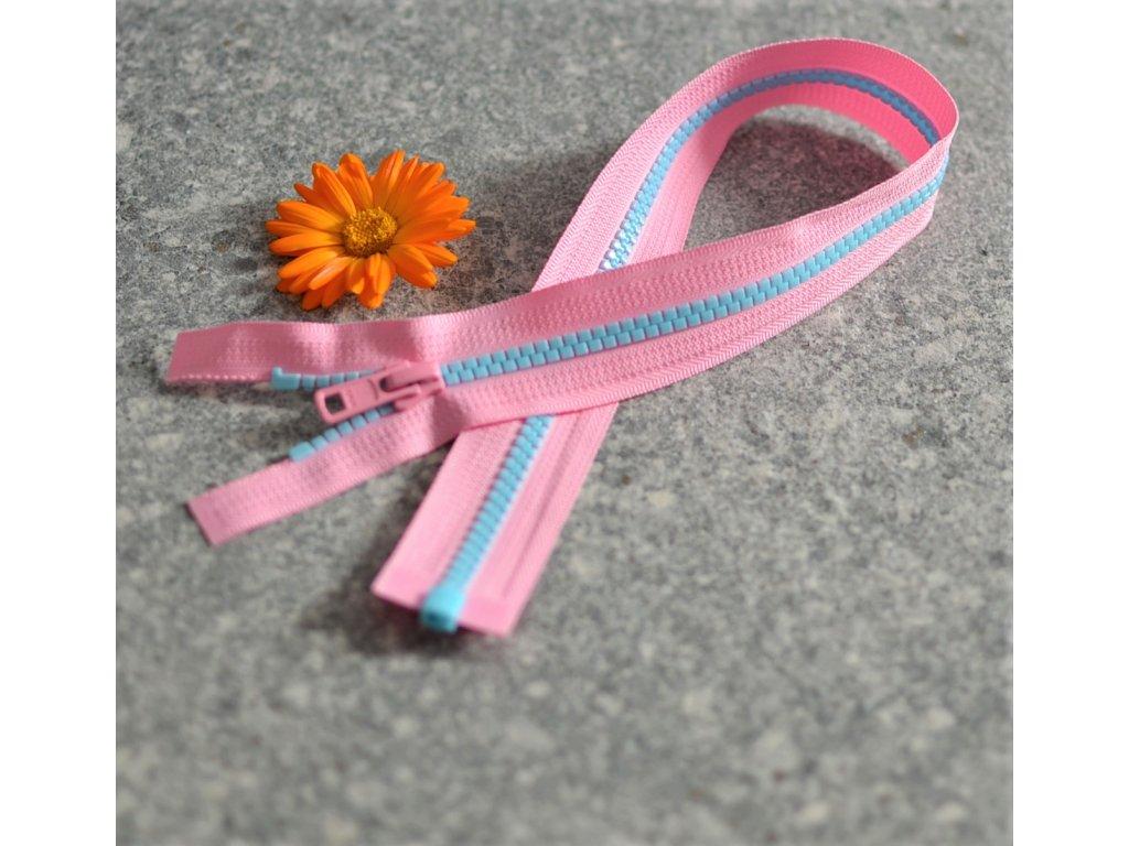 dělitelný kostěný zip YKK - 45 cm, růžová stuha, modré zuby, FLAT design