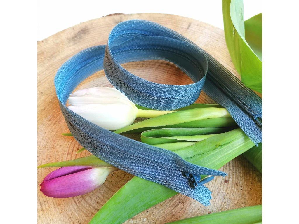 skrytý spirálový zip YKK - 40 cm, modrošedý