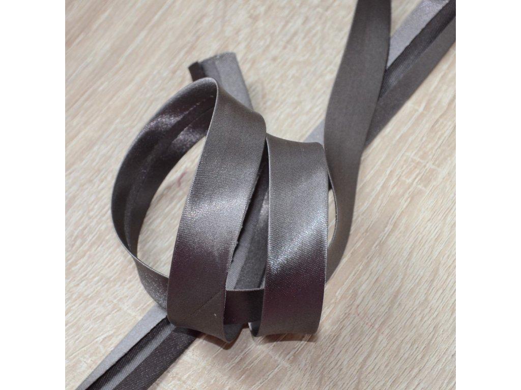 0,5 m šikmý proužek saténový tmavě šedý 18 mm