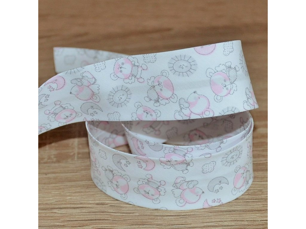 0,5 m šikmý proužek létající medvídci růžoví 30 mm (100% bavlna)