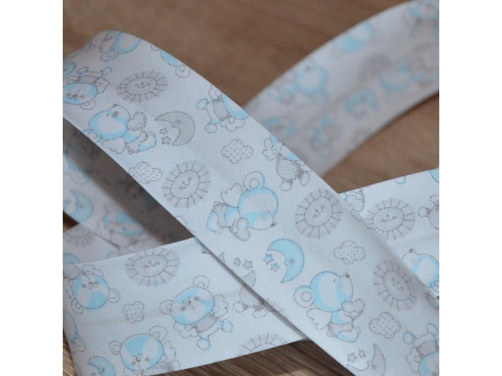 0,5 m šikmý proužek létající medvídci modří 30 mm (100% bavlna)