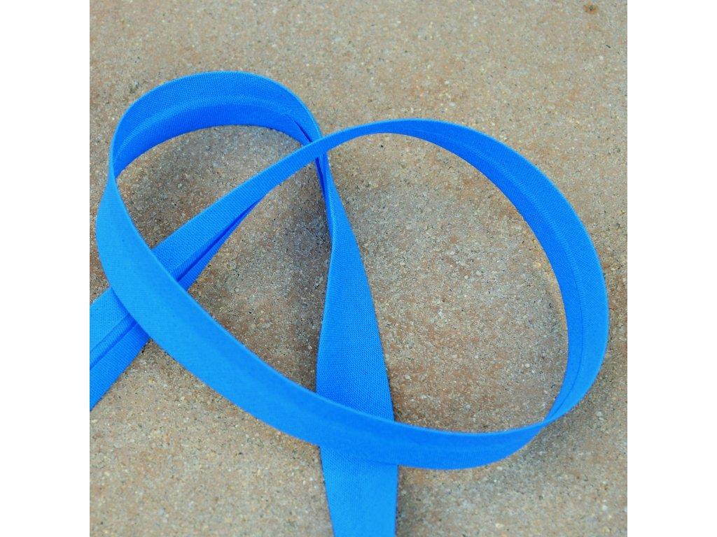 0,5 m šikmý proužek zažehlený modrý 18 mm (bavlna/polyester)