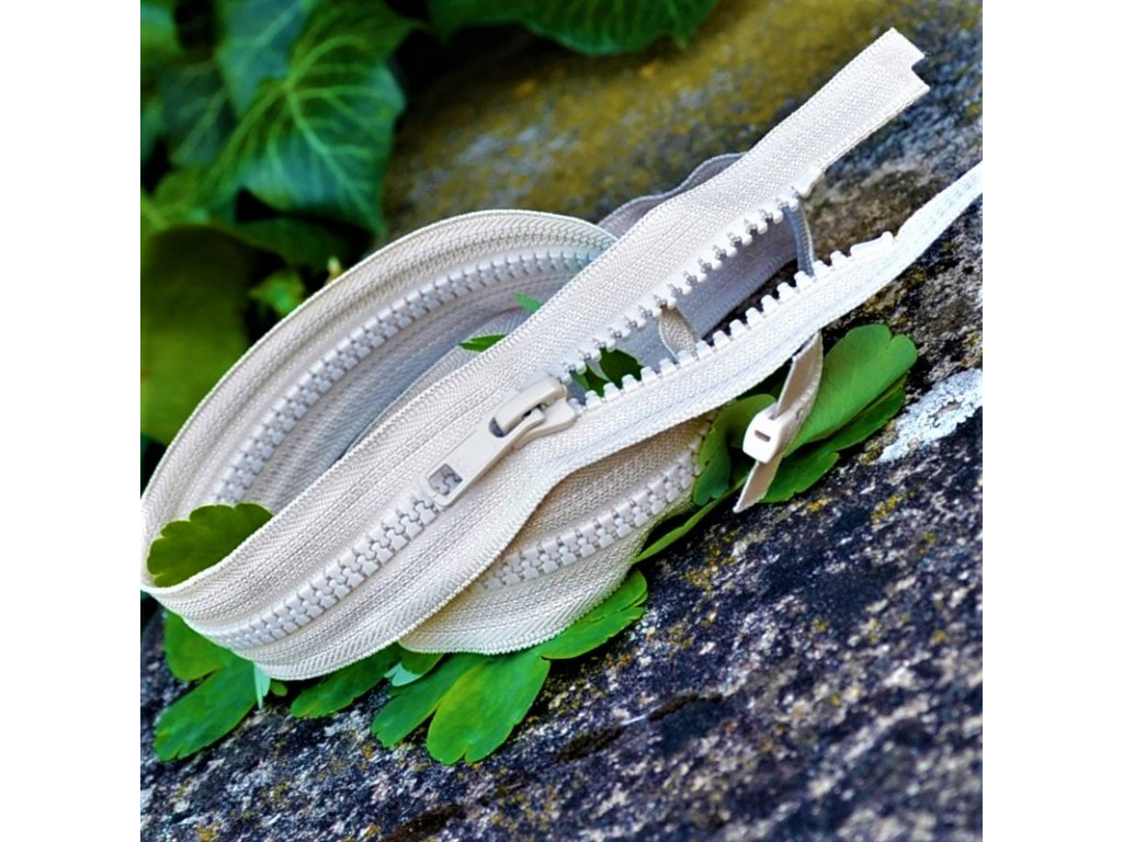 dělitelný kostěný zip YKK - 56 cm, béžový