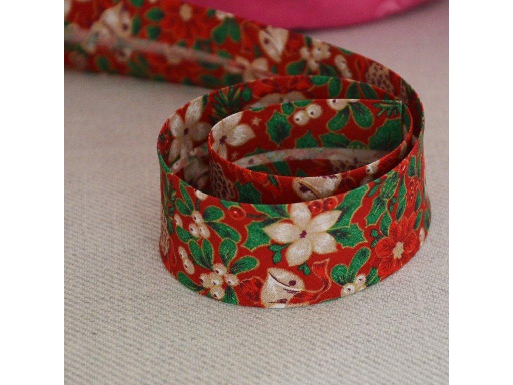 198 cm šikmý proužek vánoční růže na červené 30 mm (bavlna)