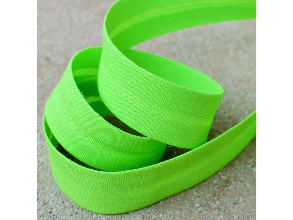 0,5 m šikmý proužek bavlněný zelený 18 mm (100% bavlna)