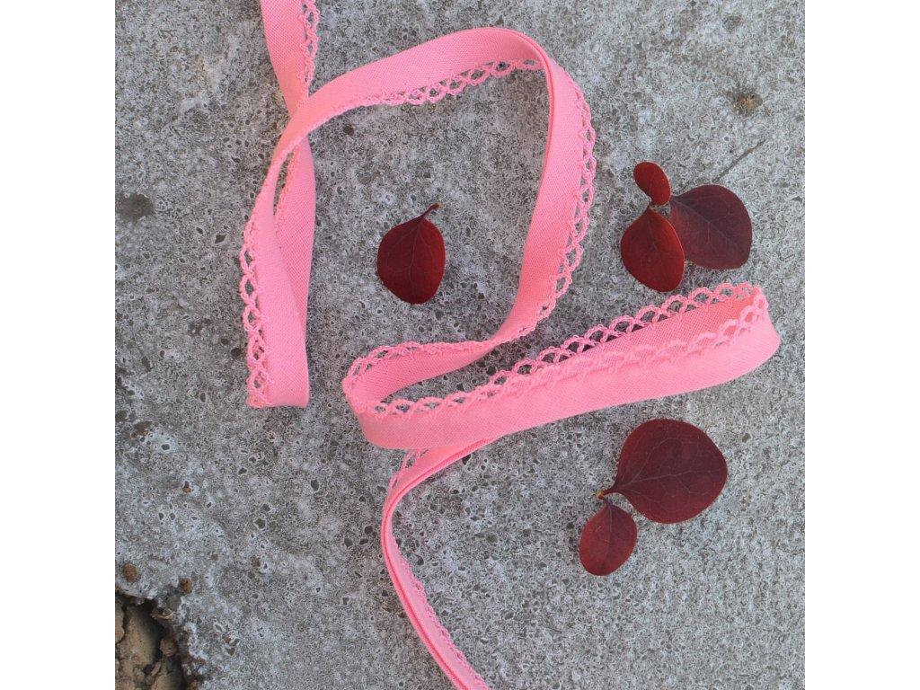 0,5 m paspule růžová s dekorem 12 mm (polyester/bavlna)