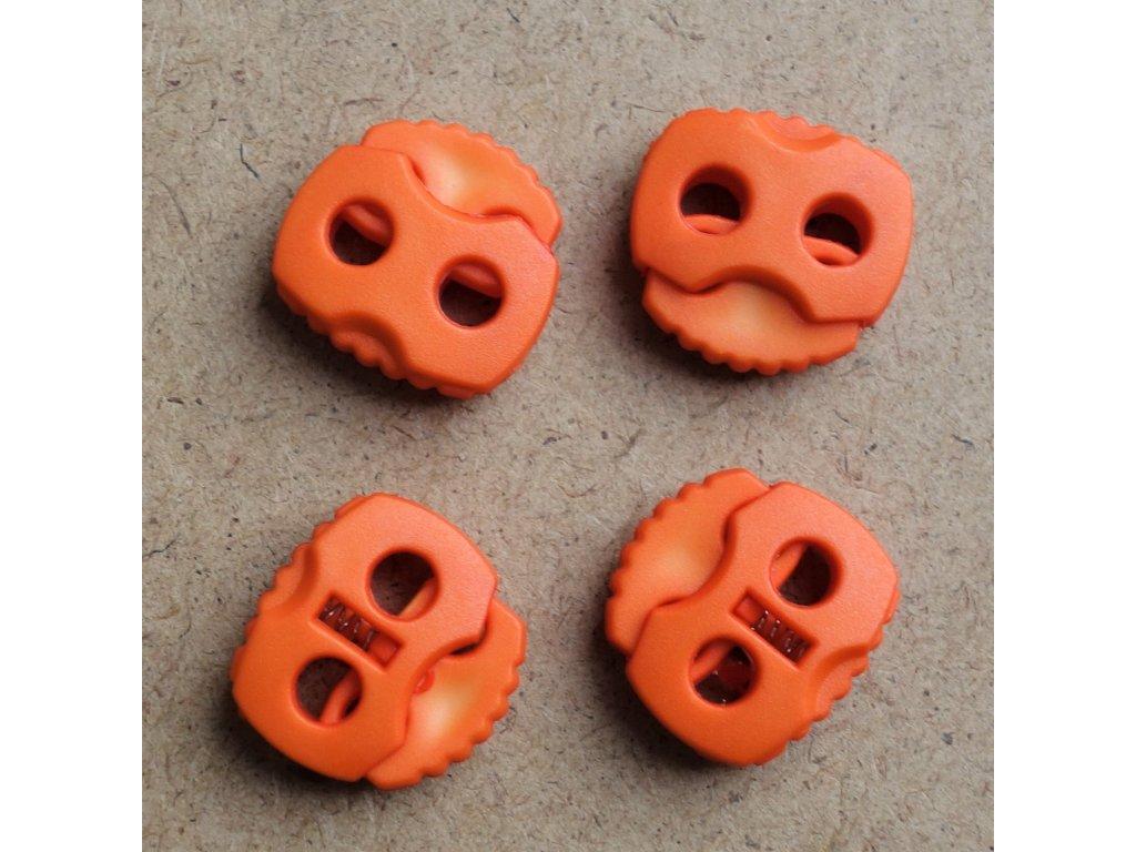 brzdička na tkanice 2 dírky prům. 4 mm oranžová
