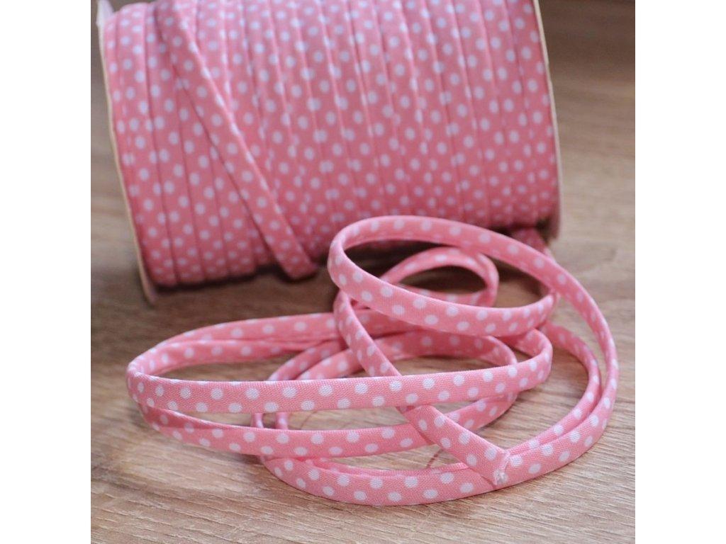0,5 m šikmý proužek SEŠITÝ (dutinka) růžový s puntíky 7 mm (bavlna/polyester)