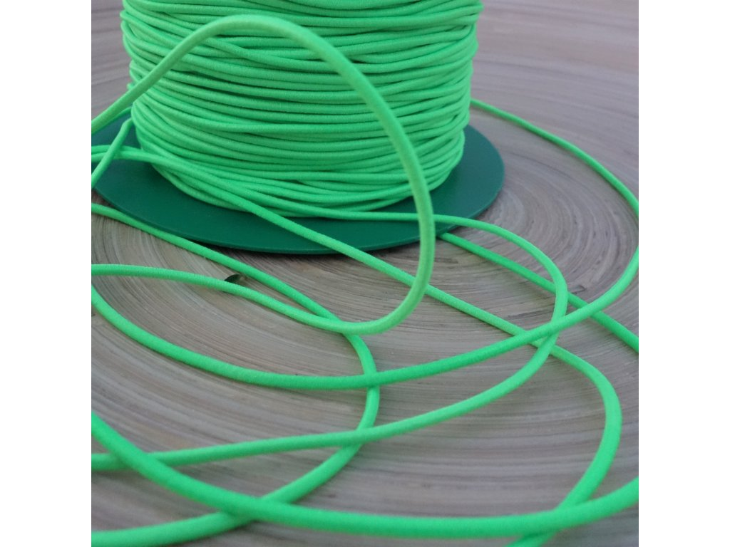 0,5 m kulatá pruženka zelená neon 1,5 mm