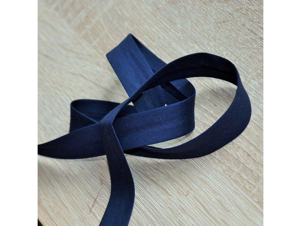 0,5 m šikmý proužek tmavě modrý plátno s elastanem 30 mm