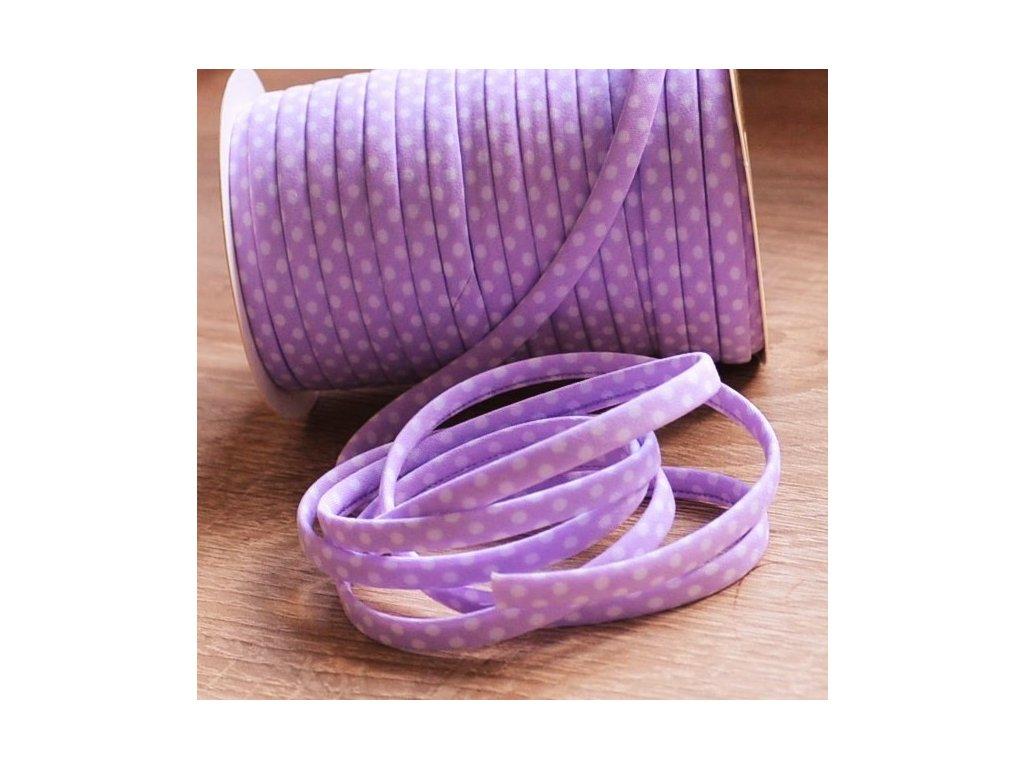 0,5 m šikmý proužek SEŠITÝ (dutinka) fialový s puntíky 7 mm (bavlna/polyester)