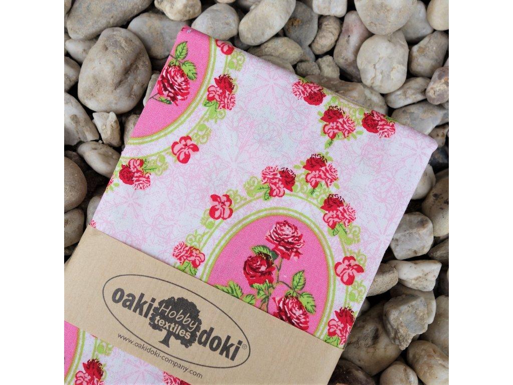 """bavlna balíček 50x70 cm """"růže růžové"""""""
