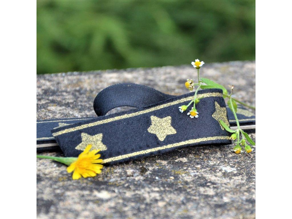 lampas glitter 30 mm balení 2 x 125 cm - černý se zlatými hvězdami