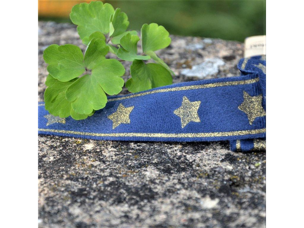 lampas glitter 30 mm balení 2 x 125 cm - tmavě modrý se zlatými hvězdami