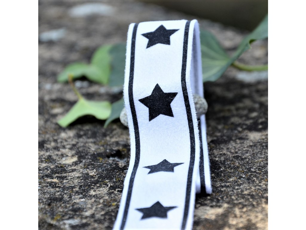 lampas 30 mm balení 2 x 125 cm - bílý se černými hvězdami