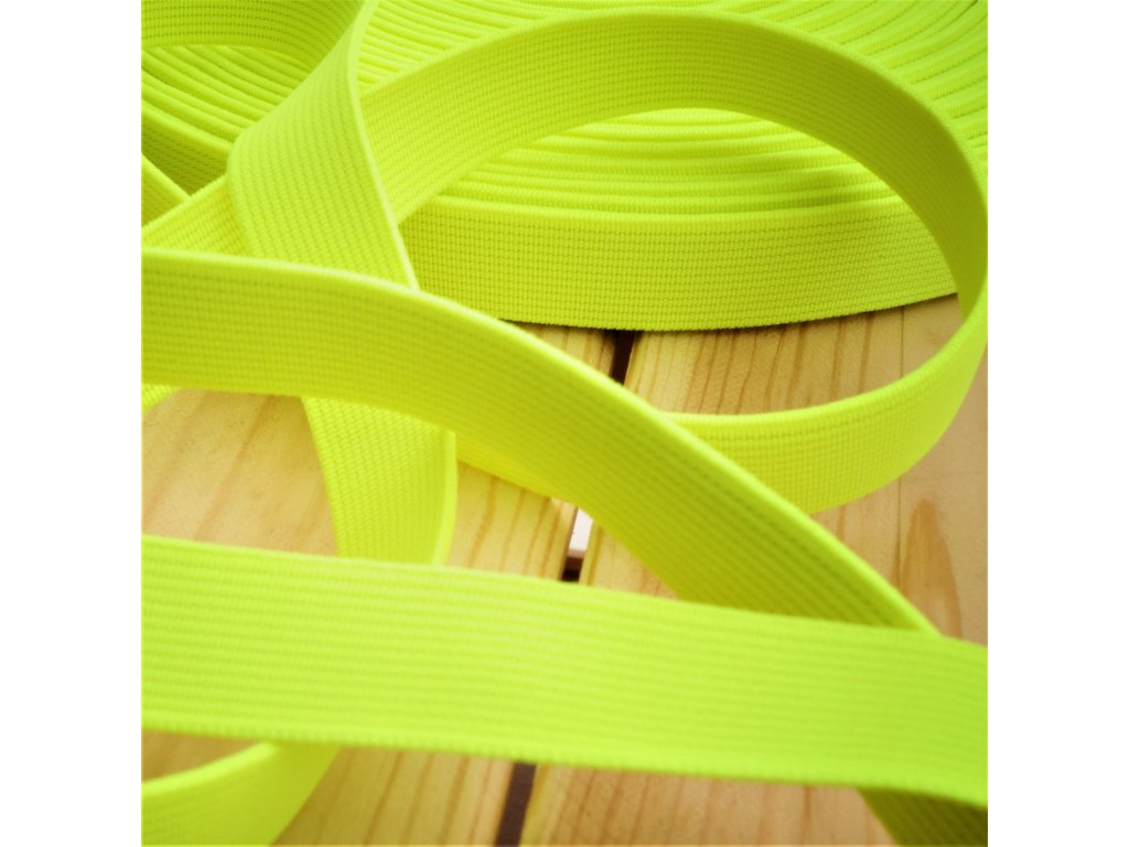 0,5 m tkaná guma do pasu žlutá neon 2 cm