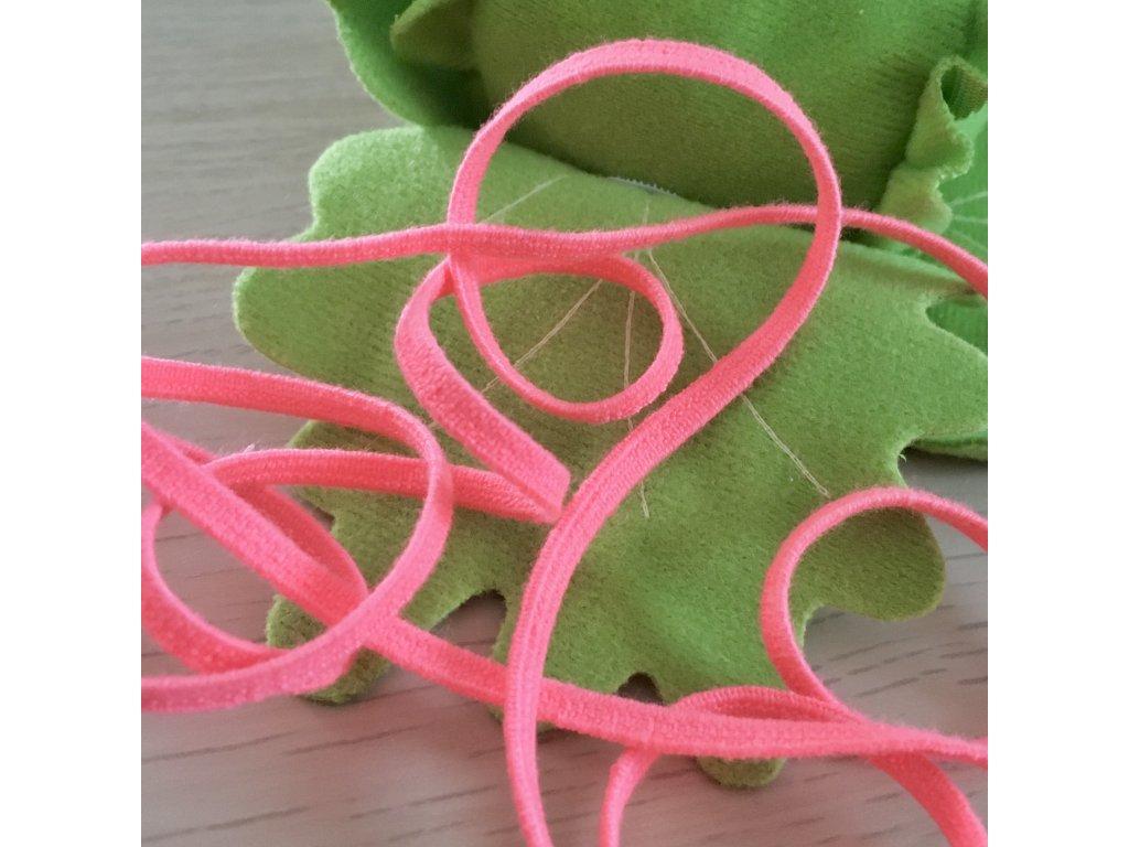 0,5 m tkaná guma do pasu růžová neon 5 mm