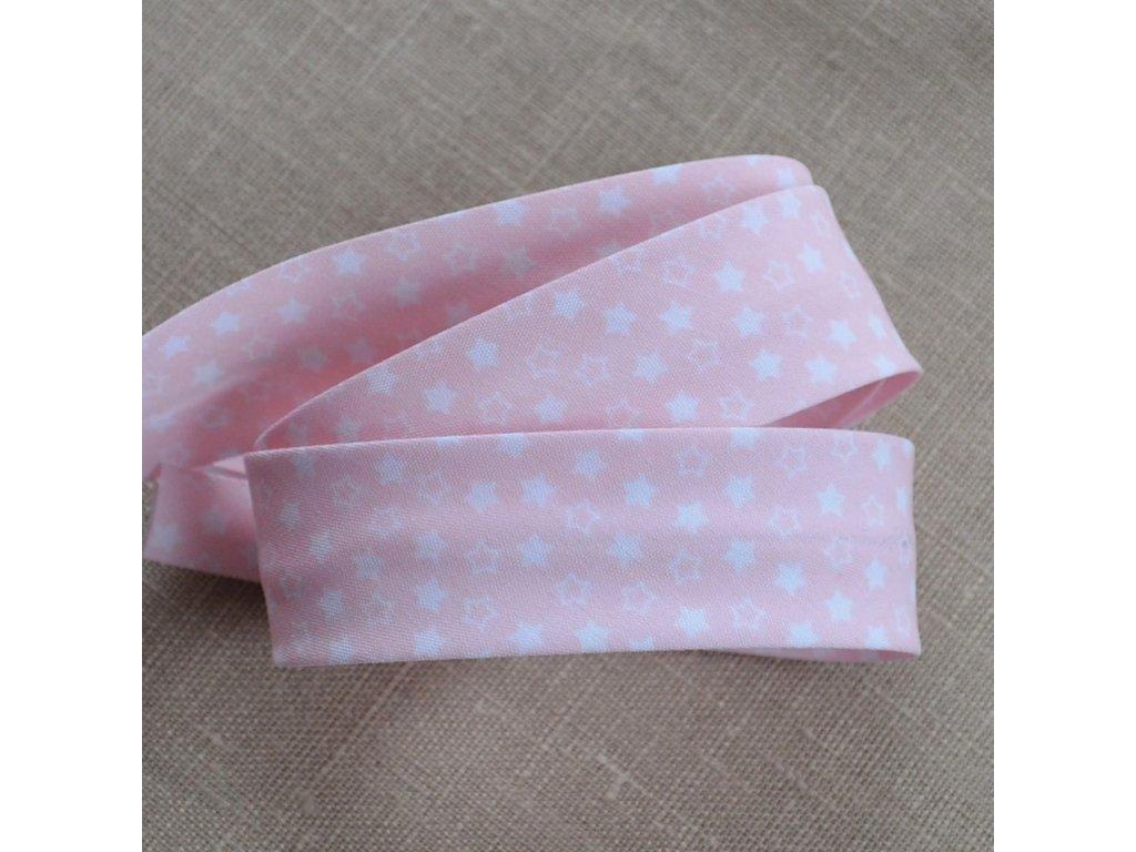 0,5 m šikmý proužek hvězdičky na světle růžové 30 mm (polyester/bavlna)