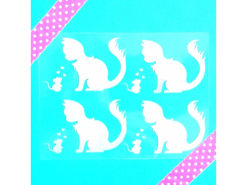 reflexní nažehlovací potisk - kočka a myš