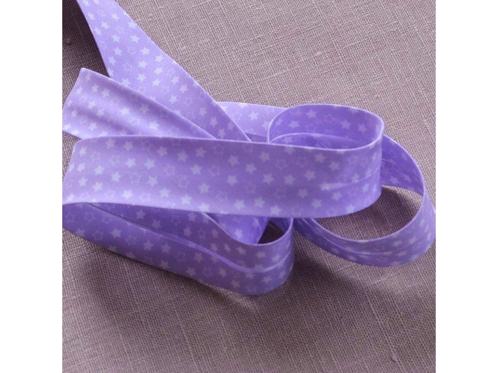 0,5 m šikmý proužek hvězdičky na fialové 30 mm (polyester/bavlna)