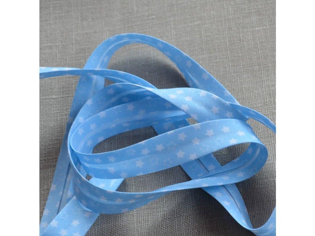 0,5 m šikmý proužek hvězdičky na modré 18 mm (polyester/bavlna)