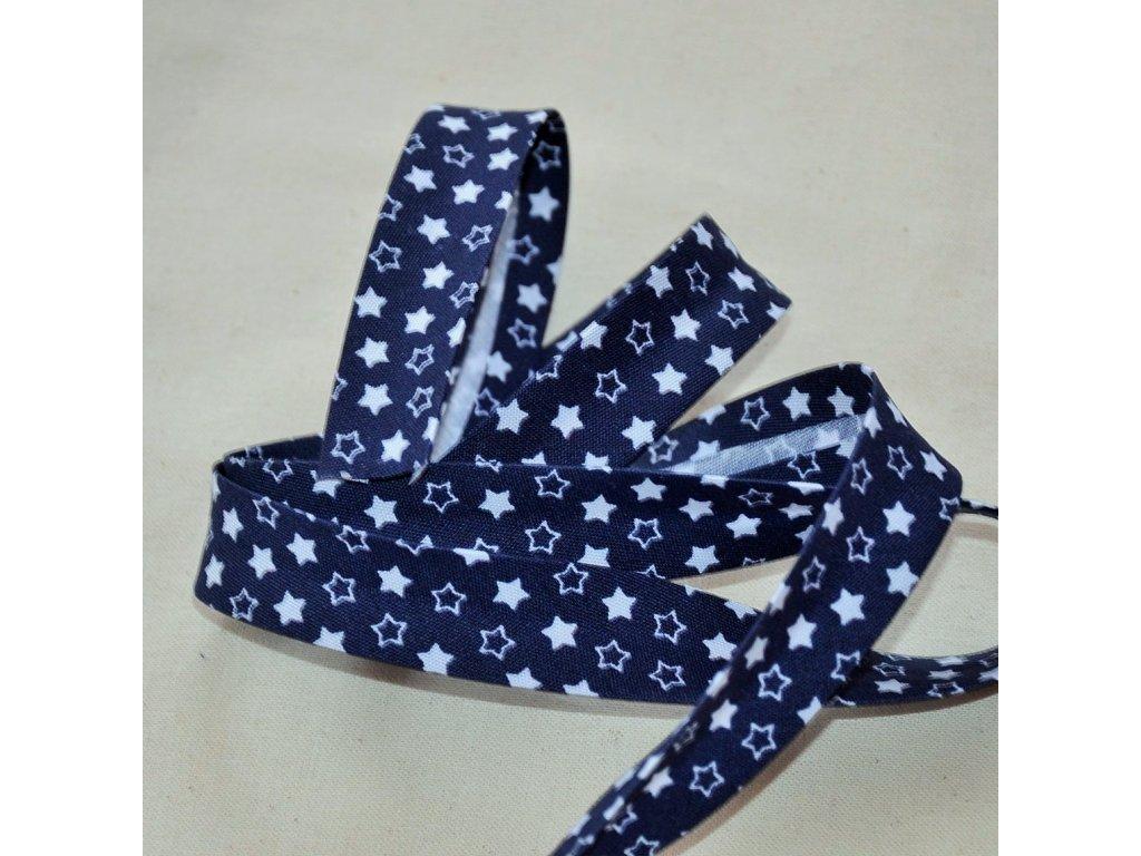 0,5 m šikmý proužek hvězdičky na tmavě modré 18 mm (polyester/bavlna)