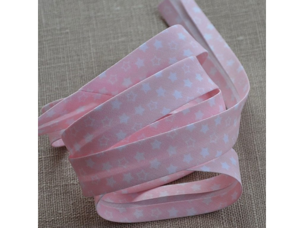 0,5 m šikmý proužek hvězdičky na světle růžové 18 mm (polyester/bavlna)