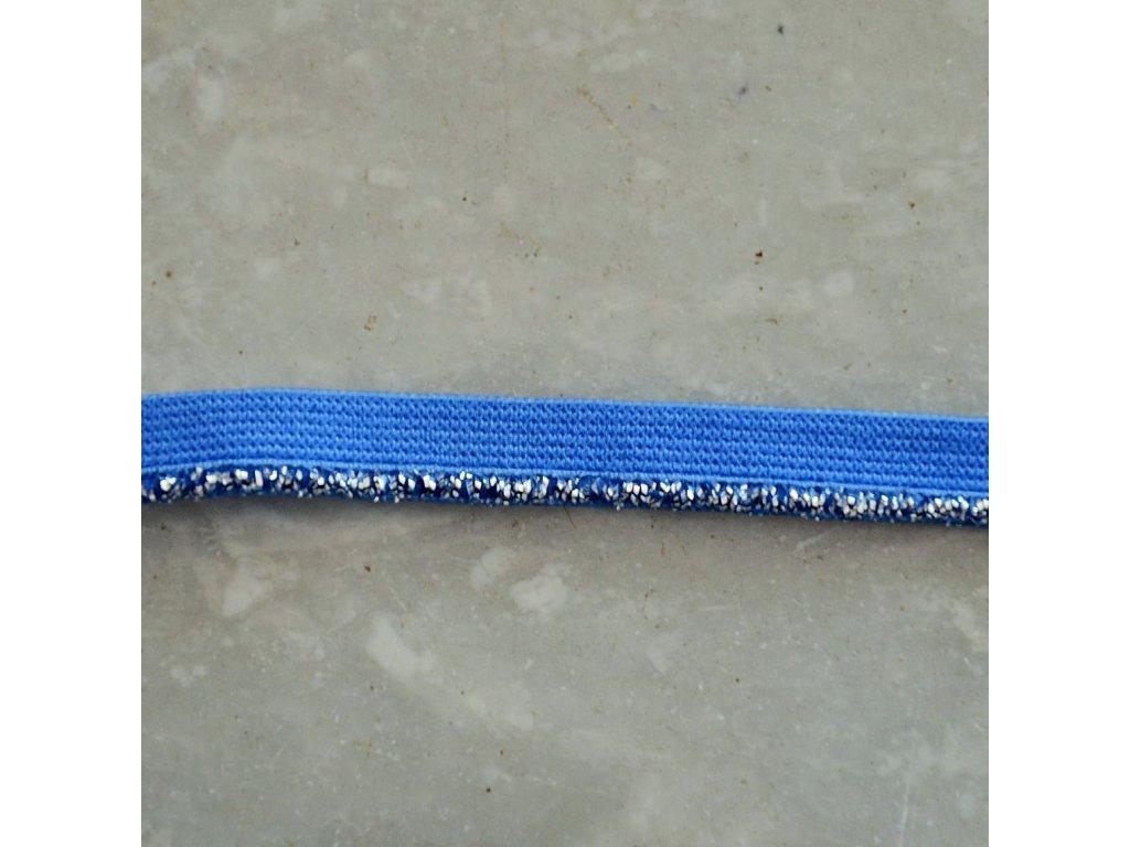 0,5 m ozdobná lemovací pruženka stříbný lem modrá 10 mm