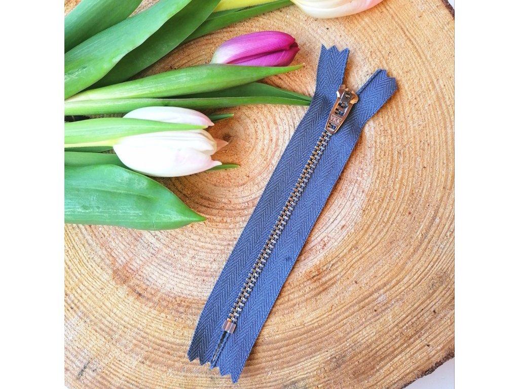 kalhotový kovový zip YKK - 12 cm, šedý