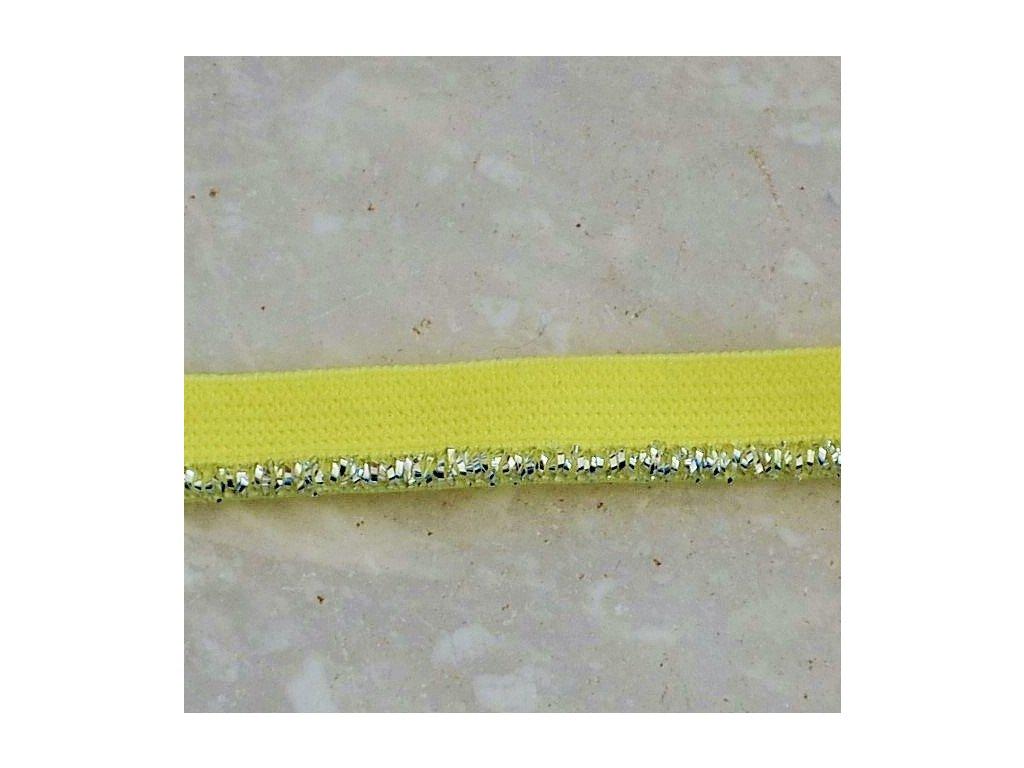 0,5 m ozdobná lemovací pruženka stříbný lem žlutá 10 mm