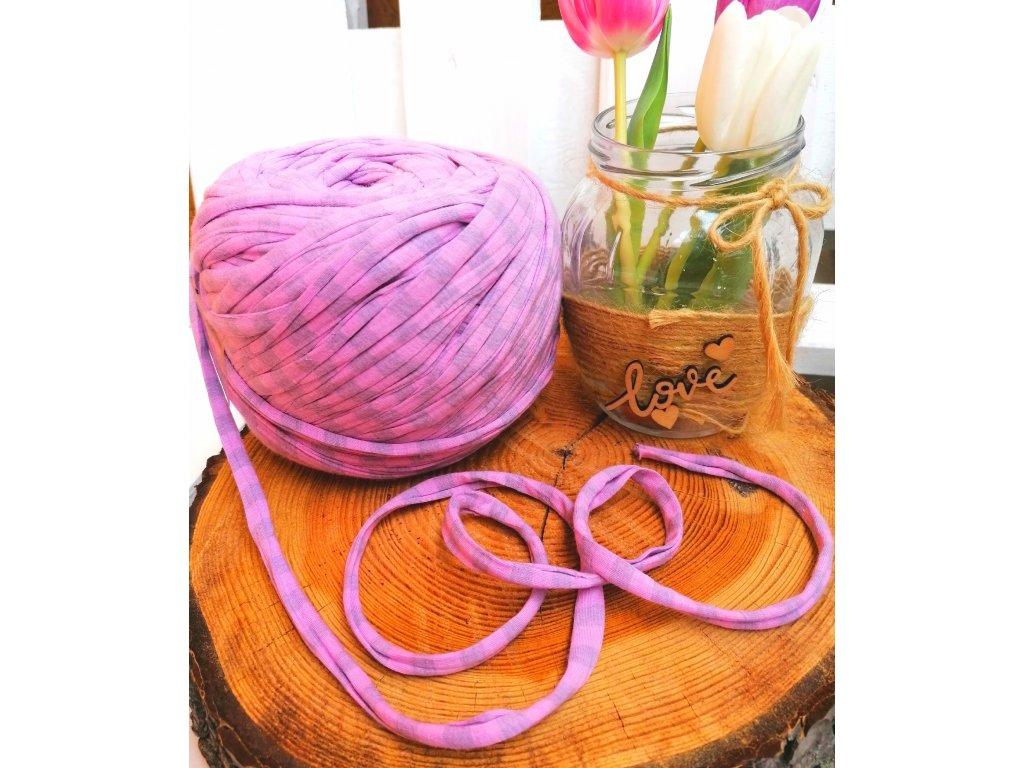 "0,5 m bavlněná tkanice - ""špagát"", růžovo - šedý pruh 10 mm"
