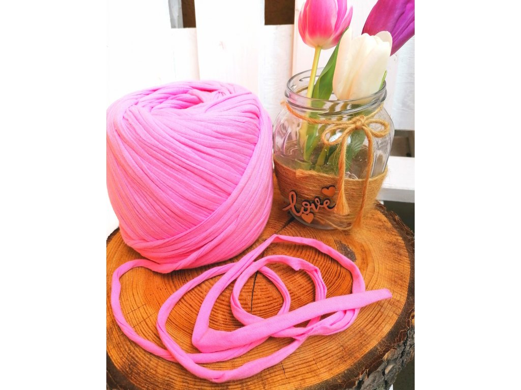 """0,5 m bavlněná tkanice - """"špagát"""", růžová 10 mm"""