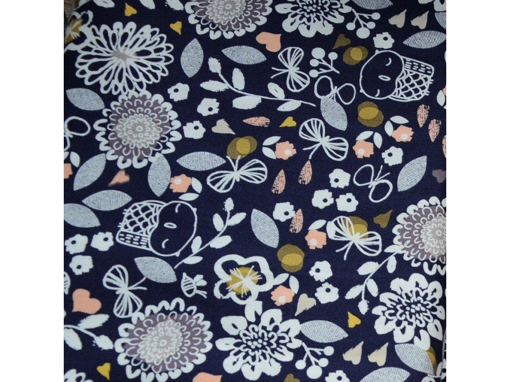 59 cm bavlna Sovičky v záplavě podzimního listí
