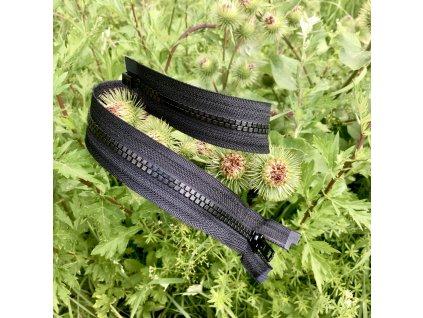 dělitelný kostěný zip YKK - 80 cm, černá, FLAT design