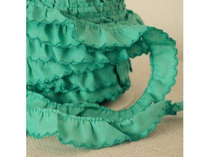150 cm řasený dekorovací proužek zelený 20 mm